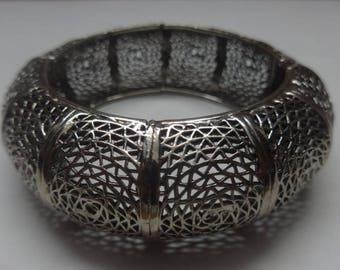 Vintage Chunky Silver Vendome Clasp Webbed Bracelet