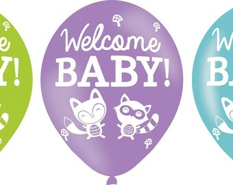 "Set of 6 balloons printed ""Woodland Welcome"""