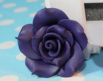 2pc Large Navy Blue Flower Rose Polymer Clay Cabochon Bead