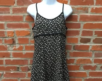 Vintage 90s Black and White Print Slip Dress Womens