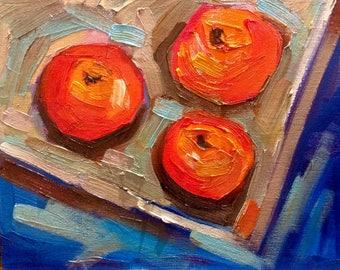 Original Oil Painting - Red fruits ,Still life Impressionism