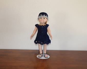 "AG blue sparkly dress, sandals, hat, undies, AG doll clothes, 18"" doll clothes, 18"" doll dress, 18 inch doll dress, AG sandals"
