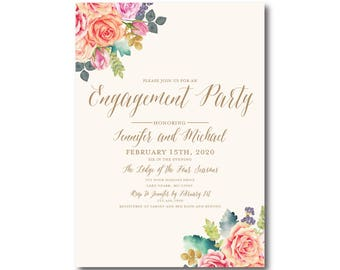 Engagement Party Invitations, Floral Invitation, We're Engaged Invitations, Engagement Invitations, Printed Engagement Invitations #CL173