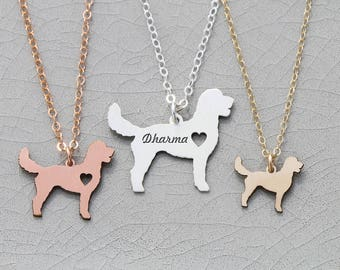 Goldendoodle Dog Necklace • Sterling Silver Dog Jewelry Mixed Breed Dog Pet Memorial Charm • Silver Dog Loss Charm Animal Necklace