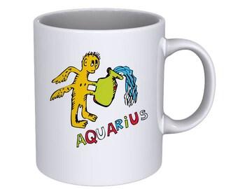 Hand drawn of the zodiac AQUARIUS - Coffee Mug - Best Gift !!!