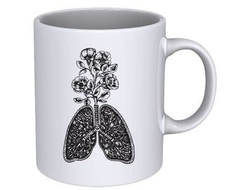 wild rose bush growing out from the Human Lungs - Hand drawn - Cool Coffee Mug - Best Gift !!!
