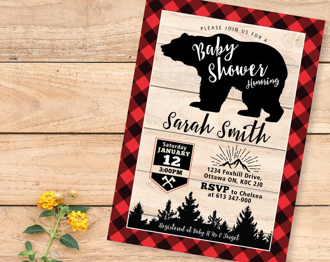 Lumberjack Baby Shower Invitations / bear, buffalo plaid, wood / Rustic Woodland Lumberjack baby boy shower / Bear Shower Invite