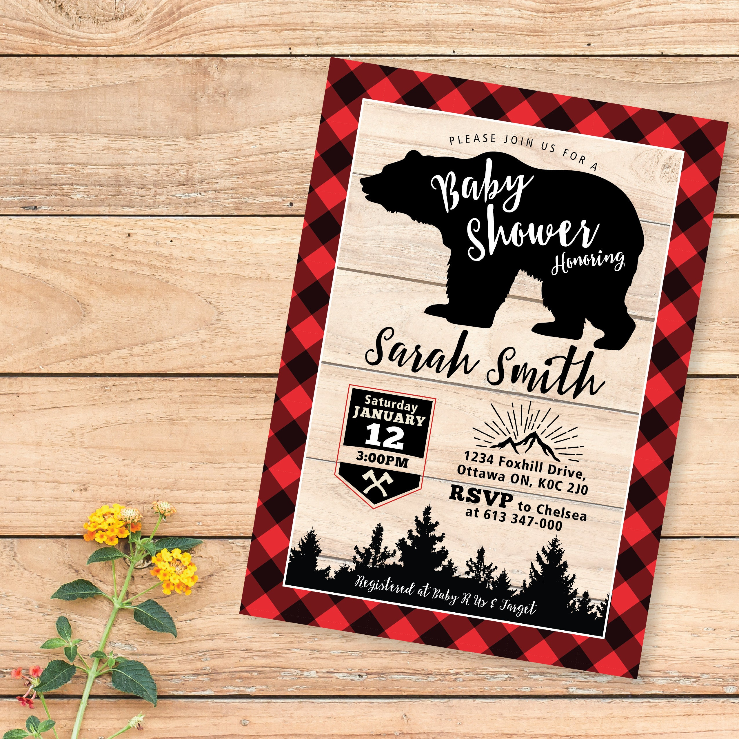 Lumberjack Baby Shower Invitations bear buffalo plaid wood