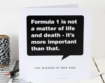 Formula 1 Card For Men; Loves Motor Sport; Formula One-Mad Card; Birthday Card For Dad; Birthday Card For Son; Card For Him; GC062