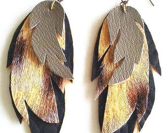 black faux leather pattern leaves earrings golden brown leather
