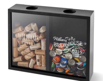 Personalized Double - Sided Beer Cap Wine Cork Display Shadow Box - Engraved Box -  Husband Gifts - Gifts for Him - Groomsmen - GC1658