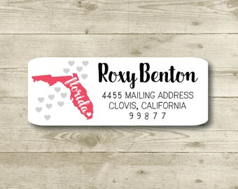 I Heart Florida, Hearts, Return Address Label, Personalized, MATTE, All Occasions, State