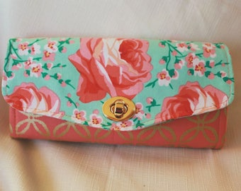 Coral Rose Clutch Wallet for money, cards and phone.