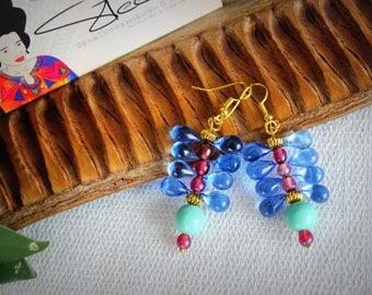 Glass Dragonfly drop earrings