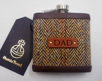 Gift for Dad Harris Tweed hip flask Scottish luxury gift for retirement birthday or Christmas  choice of any tweed with real leather label