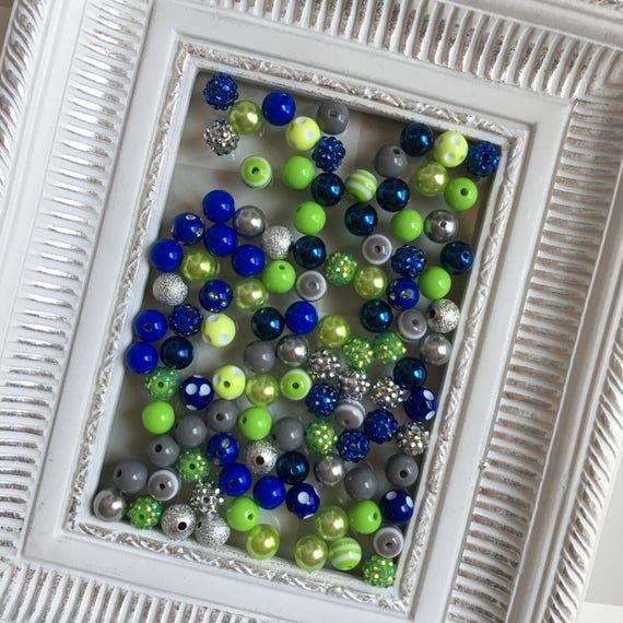 """12mm """"Seahawks: Lime, Royal Blue, & Gray/Silver"""" {100 count}  Chunky Bubble Gum Bead Wholesale Bulk Bead Lot for Necklaces or Bracelets"""