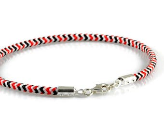 Mens Simple Bracelet. Mens Sterling Silver Rope Bracelet. 3mm Black White Red Paracord Bracelet. Mens Stacking Wrist Band.  Boyfriend Gift.