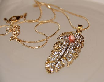 gold leaf pendant, rhinestones and coral .idee gift