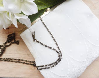 Dress handkerchief for bride white lace and brass clasp