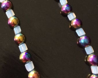 Magnetic hematite & moonstone necklace