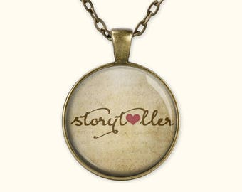 Storyteller - Writer Necklace - Author Gift - Writing Charm - Book Gifts - Jewelry for Writers -  (B3390)
