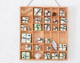 Vintage Adventskalender Holz Maritim Schachtel Setzkasten Weihnachten Nautical Sailor Atlas Upcycling selbst befüllen Origami