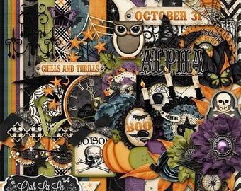 On Sale 50% Halloween, All Hallows Eve Digital Scrapbook Kit, Holiday, Fall