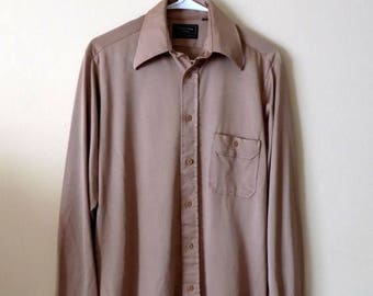 70s Tan Mens Button Down with Wide Collar by JC Penny Mens Shop Size 15R, Medium