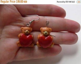 80s Teddy Bear Earrings Valentines Day Jewelry