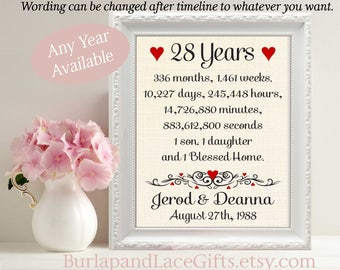 28. 28th Anniversary, 28 Years Together, Years, Months, Weeks, Days, Gift to Wife, Gift to Husband, Framed anniversary gift (ana207-28)