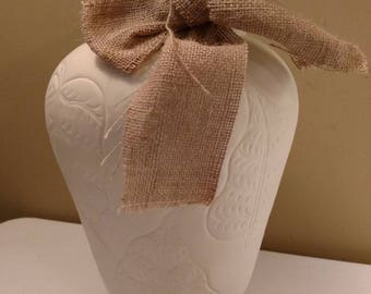 Repurposed Shabby Chic Farmhouse Metal Leaf Embossed Vase with Burlap Bow