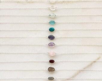 Pebble bracelet   Natural gemstones   14k gold filled & sterling silver