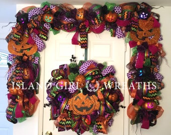 halloween garland halloween deco mesh garland fall deco mesh garland fall garlands - Deco Mesh Halloween Garland