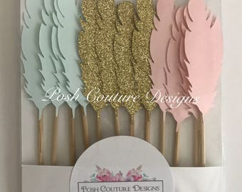 Feather Cupcake Toppers/ Boho Cupcake Toppers/ Boho Party/ Boho Bridal Shower/ Boho Baby Shower/ Tribal Cupcake Toppers/ Woodland Party