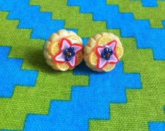 Earrings chips fresh fruit tart