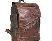 Black waxed canvas backpack. Custom order for Lauren