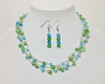 Teal Blue, Green, Cultured Pearls, Faceted Glass, Non-Tarnish Silver Plated Wire, Wire Crochet, Necklace, Earrings