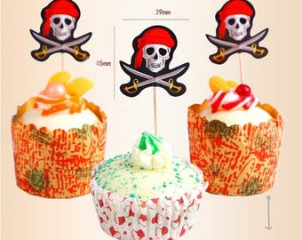 12pcs pirate Cupcake Toppers