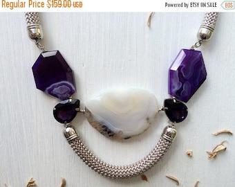 ON SALE Violet Duchess - Moss & Purple Agates Statement Necklace