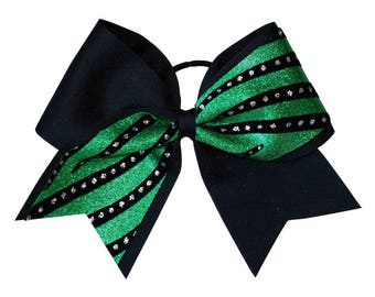 Black and Green Streamers Cheer Hair Bow