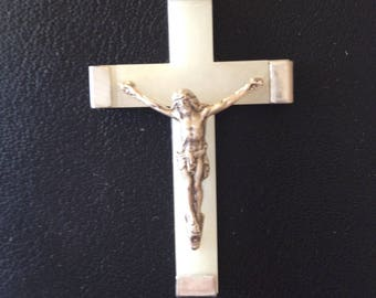 Cross from Lourdes dark silver tone and plastic glow