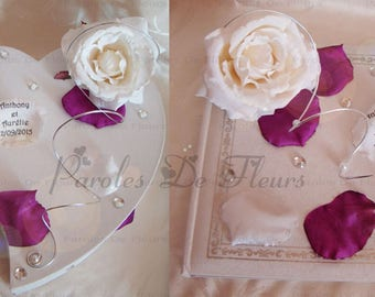 all guest book and box white/purple artificial rose, diamond, aluminum wire, beads and petals to customize colors