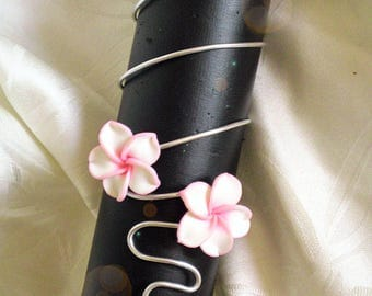 Bracelet aluminum and plumeria flowers to customize colors to choose from