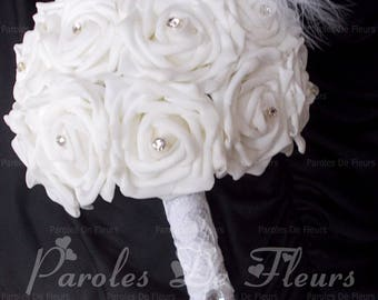 Diamond bridal bouquet, feather and lace to customize