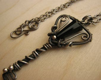 gothic jewelry, gothic pendant, gothic key, wire wrapped jewelry, gothic necklace, key necklace, key pendant - KEY to the ABYSS