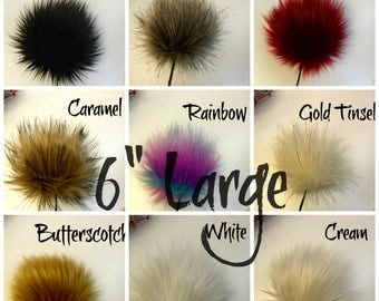 Faux Fur Pom Pom / Large 6 inch / Fake Fur Pom Pom / Hat Topper / Pom Pom / Vegan Friendly / Crochet Supplies / Knitting Supplies