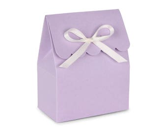 Favor Boxes, Lavender with Ivory Ribbon // Set of 8