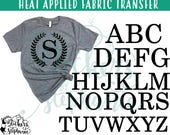 IRON ON Laurel Wreath Monogram Letters Numbers Heat Applied T-Shirt Fabric Transfer Decal *Specify Color Choice in Notes or BLACK Vinyl