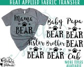 IRON ON v232-L  Mama Papa Baby Brother Sister Bear Paw Teepee Heat Applied  T-Shirt Transfer *Color Choice in Notes or BLACK Vinyl