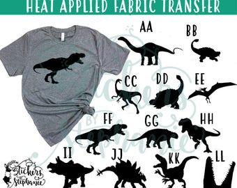 IRON ON v2 Aa-Ll Dinosaur Dinosaurs Silhouette  T-Shirt Transfer *Color Choice in Notes or BLACK Vinyl
